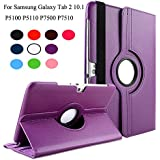 TGK® 360 Degree Rotating Leather Smart Rotary Swivel Stand Case Cover For Samsung Galaxy TAB 10.1 N GT-P7500 GT-P7501 GT-P7510 GT-P7511, TAB 2 10.1 GT-P5100 GT-P5110, P510, P750 (Purple)