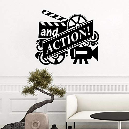 Crjzty Applique Action Film Wandtattoo Filmrolle Kino Wandaufkleber Heimkino Theater Decor Abnehmbare Vinyl Film Action Wand Mural57x50cm