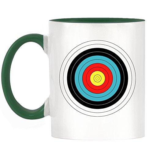 Bogenschießen Ziel Design zweifarbiges Becher mit Dunkle Grün Griff & Innen