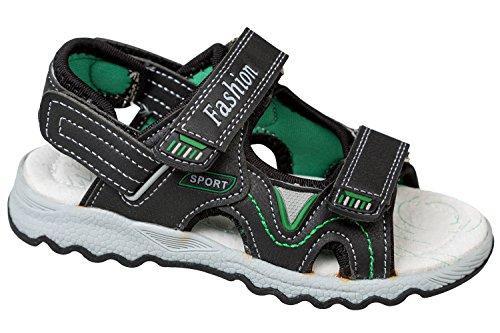 GIBRA® Trekkingsandalen für Kinder, mit Lederfußbett, schwarz/grün, Gr. 27
