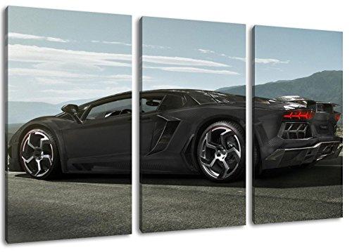 Lamborghini Aventador sulla strada Formato: coperto tre pezzi totale 120x80, pittura su tela, immagini enormi XXL completamente finito e incorniciate con barella, incorniciatura sulla foto parete con cornice, più conveniente che la pittura o l'immagine, senza manifesti o poster