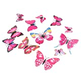MagiDeal 12 Pieces 3D Butterfly Art Decal Home Decor Mural Wall Stickers - Pink
