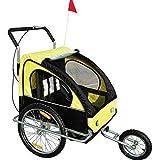 Remolque para Niños DOS PLAZAS con Amortiguadores Carro para Bicicleta CON BARRA INCLUIDA y Kit de Footing COLOR AMARILLO Y NEGRO