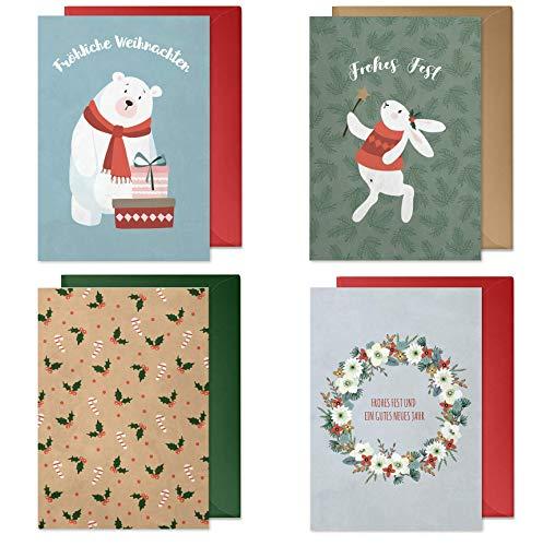 4er Weihnachtskarten Set mit Umschlägen: hochwertig, Nostalgie-Design für Kinder/Erwachsene (Eisbär, Zauberhase, Zuckerstangen ohne Text, Kranz, Frohe