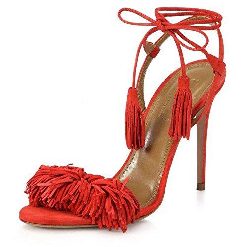 uBeauty Damen Stilettos High Heels Tassel Sling Back Sandalen Knöchelriemchen Open Toe Schnüren Übergröße Schuhe Rot Wildleder