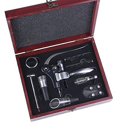 Wein-ffner-Kit-gwcleo-9-Wein-Kaninchen-ffner-Set-Edelstahl-Wein-Flaschenffner-Kaninchen-Hebel-Korkenzieher-Wing-Korkenzieher-Luftsprudler-Thermometer-Stopper-und-Zubehr-Set-mit-Holz-Fall