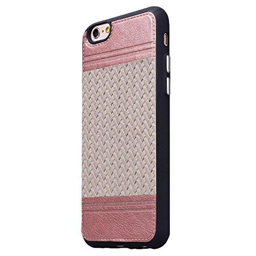 HB-Int Hülle für iPhone 6 / 6S Handytasche Weben Muster Silikon Weich Schutzhülle Nähen mit PU Leder Etui Schale Protective Back Case - Royal Blau Roségold / Rosa