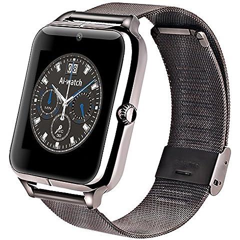 Aiwatxh Bluetooth Deportes Z50 smartwatchs con SIM/TF con Facebook Whatsapp y Twitter (Negro)