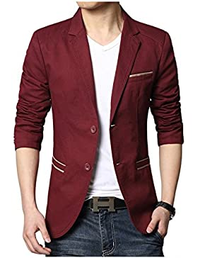 Linyuan British Style Men's Suit Coat Slim Blazer Casual Jacket Outerwear Two Buttons