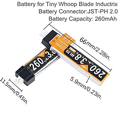 Makerfire 6pcs 260mAh HV 1S Lipo Battery 30C 3.8V JST-PH 2.0 Powerwhoop Connector for Tiny Whoop FPV Racing Drone