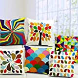 Kussing Jute Cushion Cover (Multicolour, 16x16 inch) - Set of 5