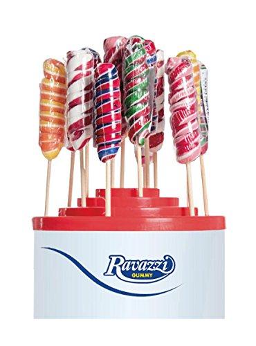 Lecca Lecca Twister Arcobaleno. Confezione da 60pz x 25gr Ravazzi Gummy. Ideale per Feste di Compleanno e Caramellate.
