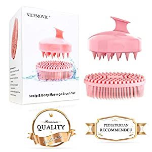 sensitive massage: Scalp & Body Massage Brushes - 2 Pack Silicone Bath Brush Set - Soft Hair Scalp ...