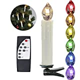 HJ® 10 Set LED kerzen Lichterkette Weihnachtskerzen Kabellos Funk Fernbedienung Baumkerzen Christbaumschmuck für christmas Party
