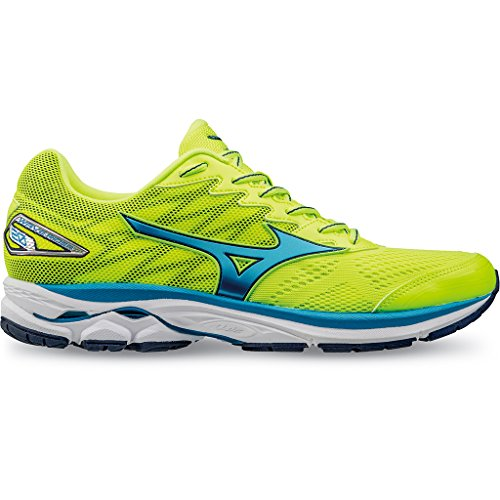 Mizuno WAVE RIDER 20, Scarpe running uomo, SafetyYellow/AtomicBlue/BlueDepths, 42