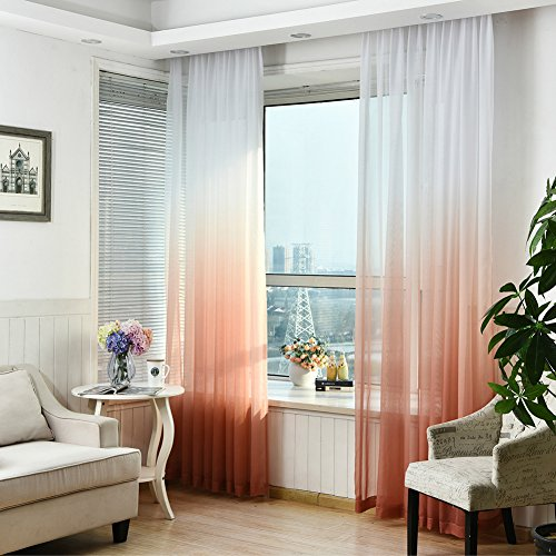 Lembeauty 2pannelli colorati gradiente finestra screening tenda drappo floreale tulle voile per camera da letto bagno soggiorno, 99,1x 269,2cm/pannello orange
