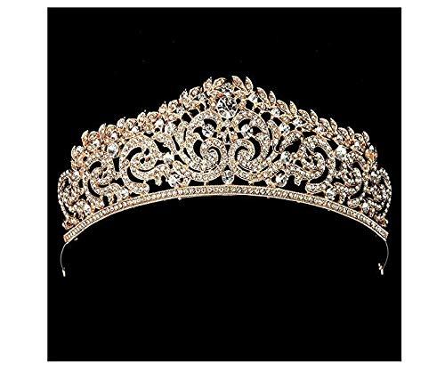 Hochzeit Brautschmuck Rose Gold Kristall Strass Festzug Party Haarreif Diadem Tiara Krone Stirnband