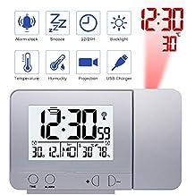Konesky Reloj de proyección Digital, atenuador Reloj Despertador Hora Reloj Protector de Temperatura con función