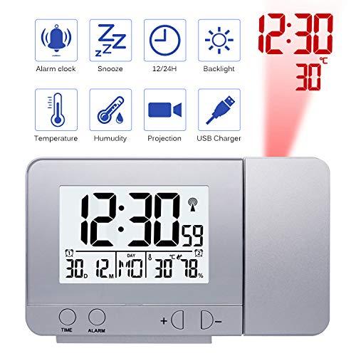 Konesky Reloj de proyección Digital, atenuador Reloj Despertador Hora Reloj Protector de Temperatura...