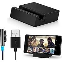 Malloom® metal magnético Cable USB + escritorio carga muelle conjunto para Sony Xperia Z3 / Z3 Compact