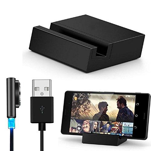Malloom® metal magnético Cable USB + escritorio carga muelle conjunto para Sony Xperia Z3 / Z3