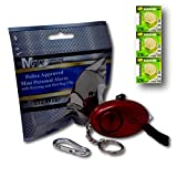 Mini Minder Key Ring Persönliche Schlüsselalarm Angriff Rape Alarm 140dB mit Fackel (Rot) + Ersatz Batterie-Set