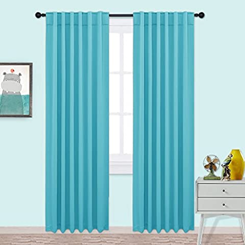 PONYDANCE Back Tab / Rod Pocket Blackout Room Darkening Curtains Window Panel Drapes, 2 Panels, 52x95 Inch,