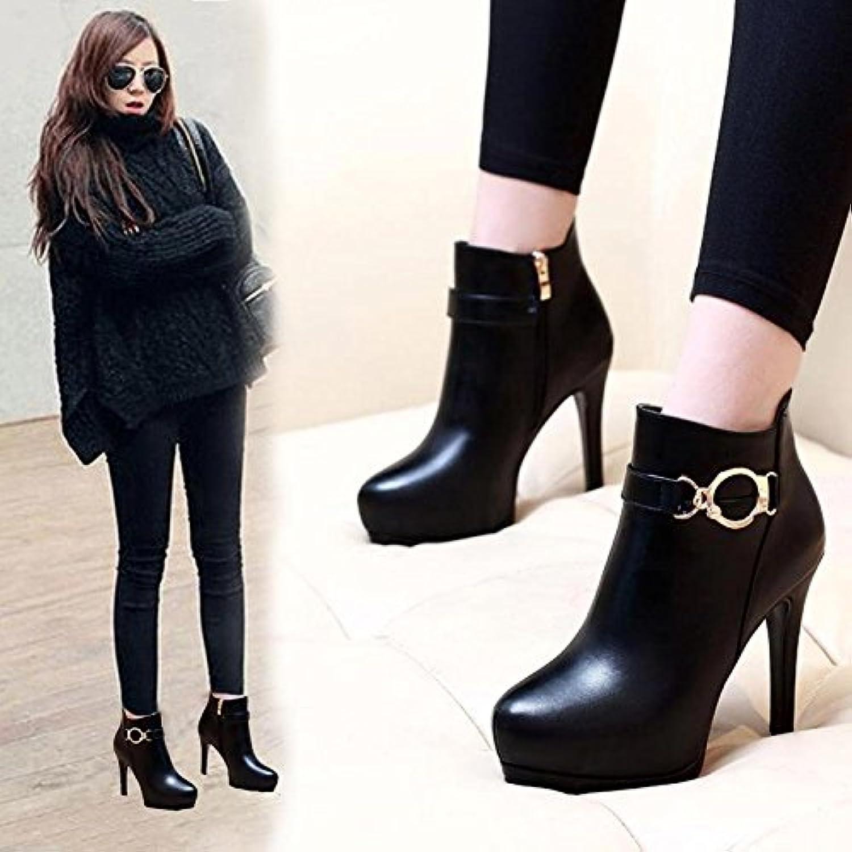 GTVERNH-Tacones altos con una multa de invierno botas impermeables zapatos mujer Korean hebilla de metal redondo...