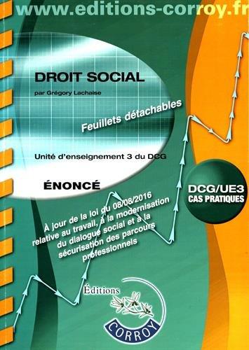 Droit social Énoncé: UE 3 du DCG