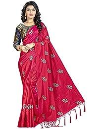 Blissta Red Silk Saree Embroidered Saree With Contrast Banarasi Jacquard Blouse