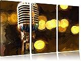 Retro Mikrofon3-Teiler Leinwandbild 120x80 Bild auf Leinwand, XXL riesige Bilder fertig gerahmt mit Keilrahmen, Kunstdruck auf Wandbild mit Rahmen, gänstiger als Gemälde oder Ölbild, kein Poster oder Plakat