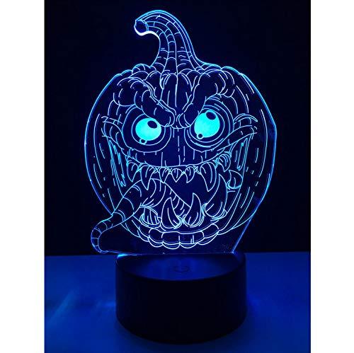 Verkauf Halloween Trick Kürbis Dämon Zunge 3D Usb Led Lampe Rgb Birne Beleuchtung 7 Farben Ändern Stimmung Nachtlicht Spielzeug Dekor Kind