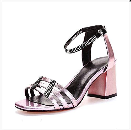 LGK&FA Estate Donna Sandali Punta Grossa sandali estivi fibbia di strass nastri una High-Heeled scarpe Scarpe Casual 36 argento 35 Pink