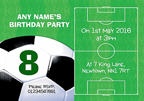 Football Pitch Ball Soccer Personalised Birthday Childrens Party Invitations