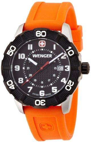 Wenger Roadster 01.0851.106 - Reloj analógico de cuarzo para hombre, correa de silicona color naranja (agujas luminiscentes)
