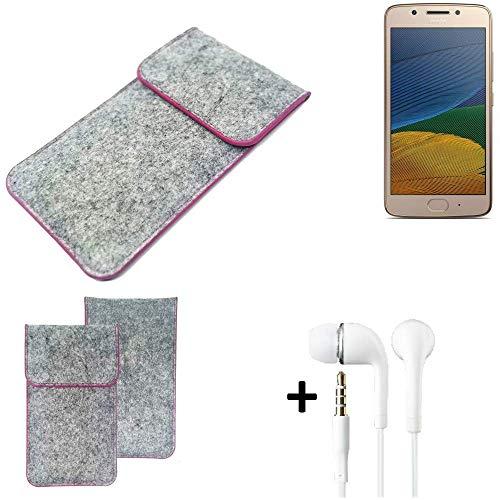 K-S-Trade® Filz Schutz Hülle Für -Lenovo Moto G5 Single-SIM- Schutzhülle Filztasche Pouch Tasche Case Sleeve Handyhülle Filzhülle Hellgrau Pinker Rand + Kopfhörer