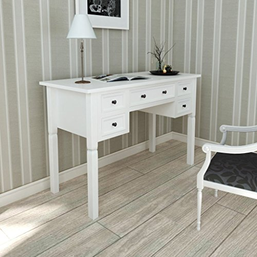Affordable Anself Writing Desk with 5 Drawers Home Office Desks White Discount