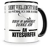 Samunshi® Ich denke an Kitesurfen Tasse Kaffeetasse Teetasse Kaffeepott Kaffeebecher Becher Nr.1: schwarz/schwarz H:95mm / D:82mm