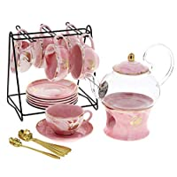 Liying 22-Piece Porcelain Ceramic Coffee Tea Gift Sets, Cups& Saucer Service for 6, Teapot with Lid Cover and Strainer,1 Warmer and Metal Stand Organizer, Cute Golden Swan Design - Pink