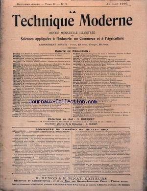 TECHNIQUE MODERNE (LA) [No 7] du 01/07/1910 - GENIE MARITIME - MECANIQUE APPLIQUEE - AERONAUTIQUE - METALLURGIE - ARTILLERIE - ELECTRICITE INDUSTRIELLE - MINES.