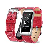 Fuibo Smartwatch, Y2 Farbe Bildschirm Blutdruck / Herzfrequenz Armband Smart Watch Armband Sport | Intelligente Armbanduhr Sport Fitness Tracker Armband (Rot)