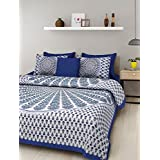 Suraaj Fashion Rajasthani Traditional Hand Block Printed 144 TC Cotton Double Bedsheet With 2 Pillow Covers - Blue
