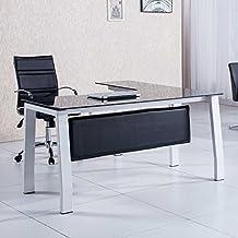 Mesa de despacho 150 cm modelo BLAKE con estructura metálica y cristal templado color negro – Sedutahome