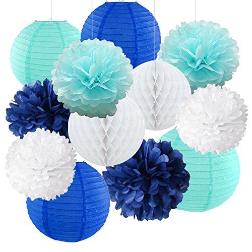 12gemischte Royal Blau Hellblau Weiß Party Pompoms Aufhängen Papier Laterne Wabenbälle Mottoparty Hochzeit Geburtstag Brautschmuck Dusche Decortion für (Royal Blue-baby-dusche Dekorationen)