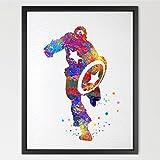 dignovel Studios Captain America Illustration Aquarelle Art Print mur Art Poster Home Decor mur garçons filles Chambre Chambre d'art cadeau d'anniversaire n004-unframed