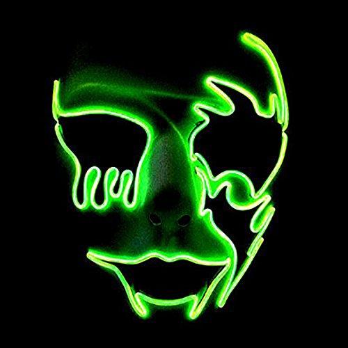 Máscara de fiesta queta, Máscara LED Cosplay de alambre EL para Halloween Fiesta de Navidad Festival Máscara de disfraces Purgar Máscara de horror por (Blanco) (2)