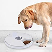 AIMMMY Automatic Pet Feeder, 6 Meal/Day Automatic Dispenser Food Bowl with Programmable Digital Timer for Dogs Cats Rabbits Small Animals
