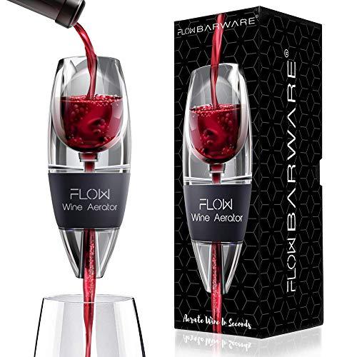 Aérateur de vin avec support, filtre à sédiments et sac de rangement. Flow Barware Coffret cadeau pour les amateurs de vin Rouge