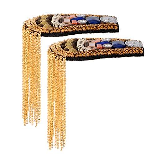 Gazechimp 2 Stück Schulterklappe Bunte perlen Brosche mit Quastenkette Anhänger für Herren - (Den Mann Tragen Kostüm Auf Schultern)