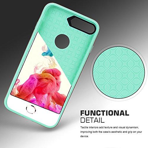 iPhone 8 Plus Hülle , iPhone 7 Plus Hülle, Fyy®leichtgewichte 2-in-1 gemischte 2 Schichte stoßfeste Hülle für iPhone 8 / 7 Plus , Pink (Doppelte Farben) A-Mintgrün